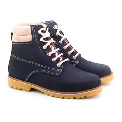 Boni Outdor - bottines enfant - Daim Bleu Marine